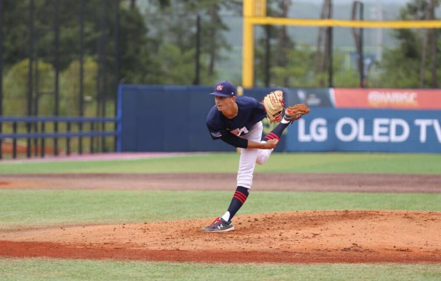 Mick Abel pitches for Team USA for the under 18 team.
