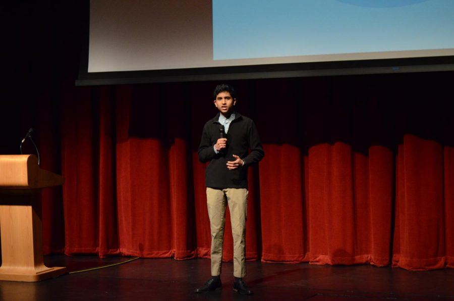 Speaker Akash Bindal giving his talk about researching and battling cancer.