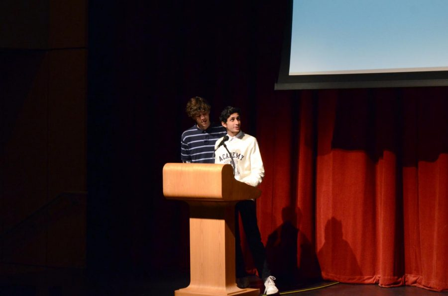IgniteJHS coordinators Eoin McDonagh and Rishey Shenoy introducing Ignite and the talks.