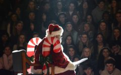 Santa Clarke addressing the student body