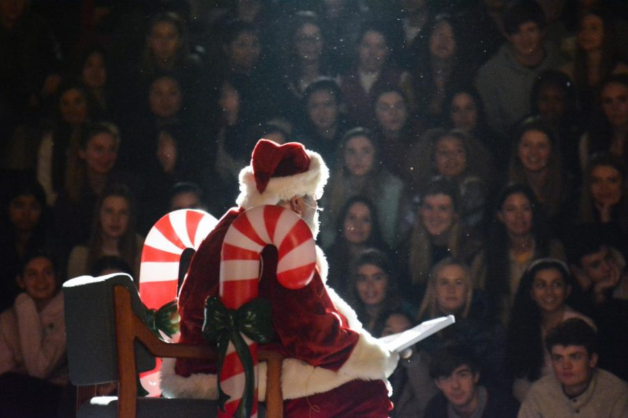 Santa+Clarke+addressing+the+student+body