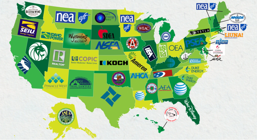 The+largest+donors+in+each+U.S.+state+are+often+major+corporations+or+unions.