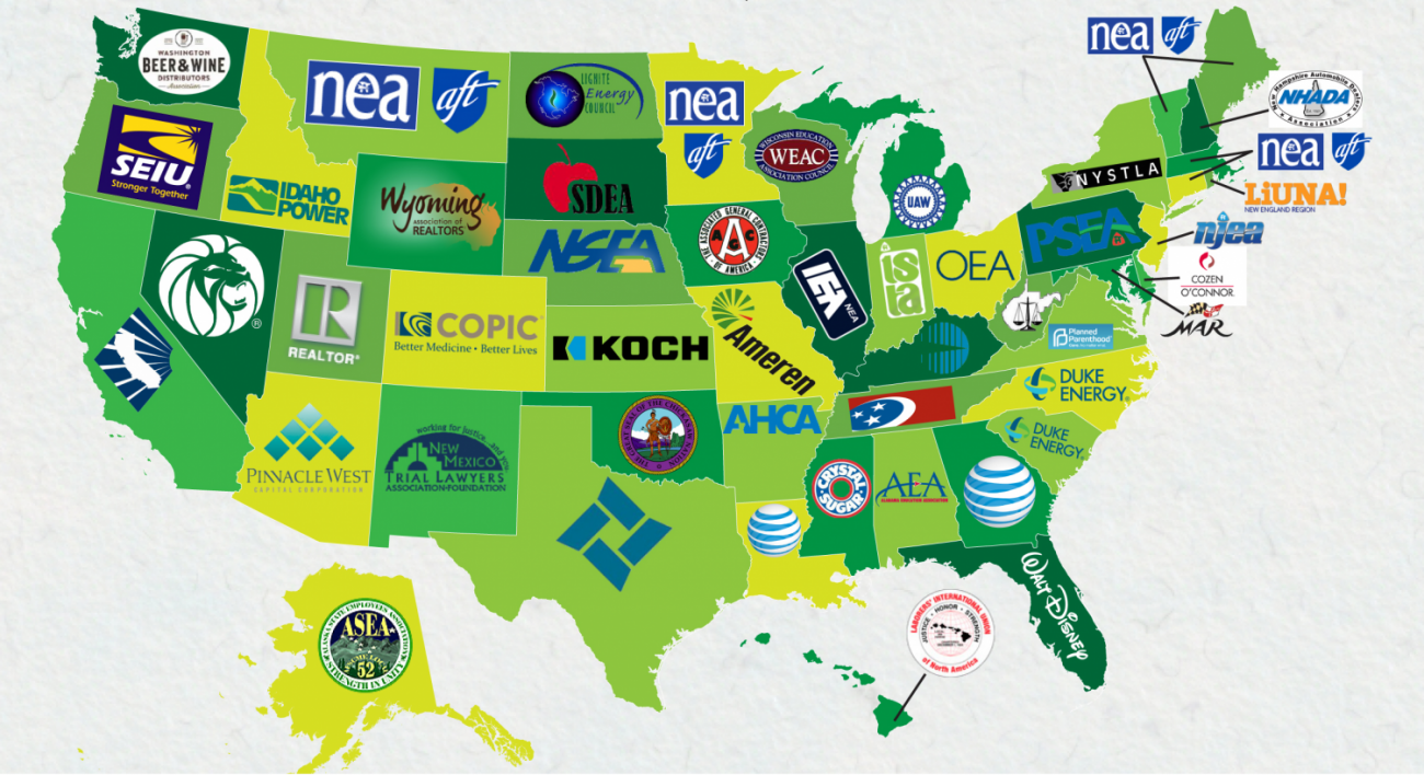 The largest donors in each U.S. state are often major corporations or unions.