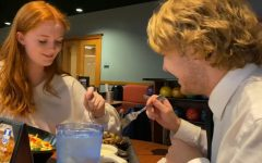 Juniors Damon Grim and Amanda Kerr share dinner during their Blind Date.