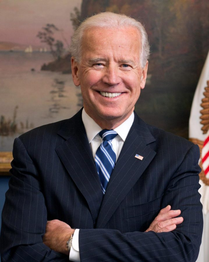 The current front-runner in the election, Joe Bidens picture from his time as Vice President under Obama