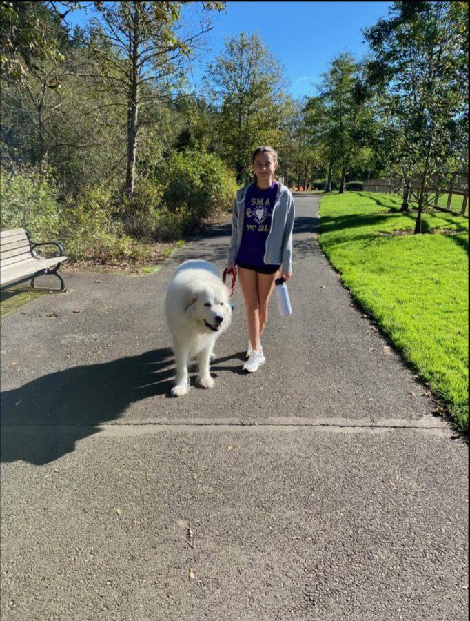 Senior Roxana Abtin Enjoying the CCA Walks For Joy with her Dog. Photo Curtsey Roxana Abtin