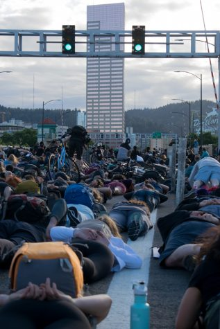 Protesters staging a die-in on Portland, Oregon