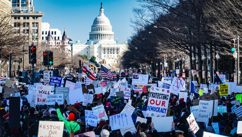 Protesters outside the White House calling for change