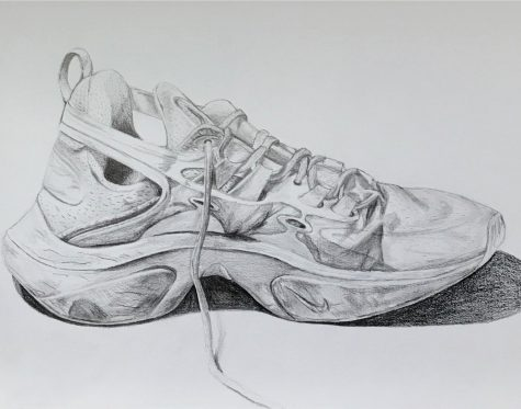 Created his senior year, Olson was tasked with drawing a shoe in pencil as realistically as possible.