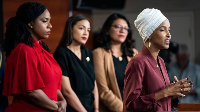 Congresswomen+Ayanna+Pressley%2C+Alexandria+Ocasio-Cortez%2C+Rashida+Tlaib+and+Ilhan+Omar.++
