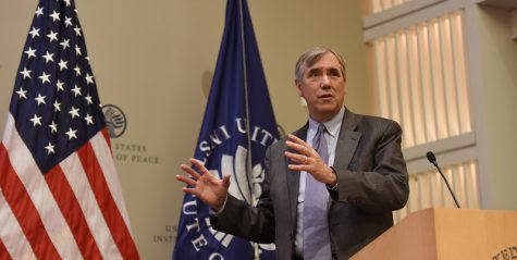 Senator Jeff Merkley (D-OR) gives his account of the humanitarian crises throughout Africa, as well as what the United States could do to address the issues.  Photo source: https://www.flickr.com/photos/usipeace/43299984782