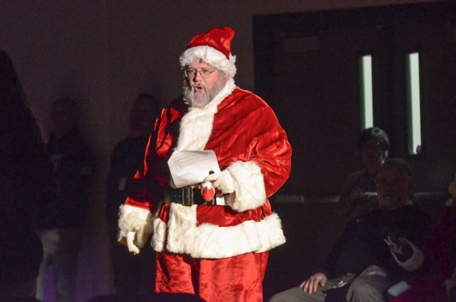 Santa Clarke at the Food Drive Assembly