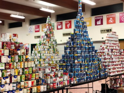 The famous towers of cans at Jesuit High School's annual food drive.
