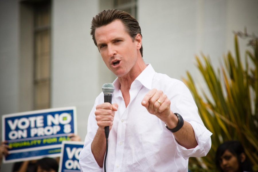 Pictured above is California Governor Gavin Newsom. Newsom broke his own coronavirus rules after dining at a restaurant with a dozen other maskless guests.