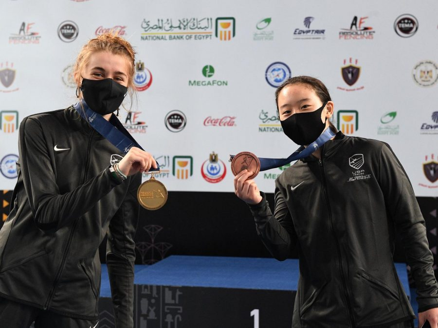Cadet World Champion Magda Skarbonkiewiz on the left and bronze medalist Zoe Kim on the right.