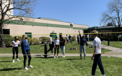 Juniors enjoy a game of outdoor volleyball at the Post-SAT Party.