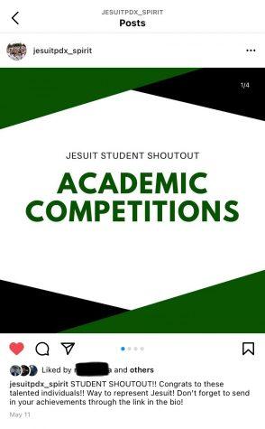 Example of Jesuit Student Shoutout posts on @Jesuitpdx_spirit