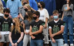 Masked students at the opening assembly for the 2021-22 school year, Courtesy of Jesuit Photography