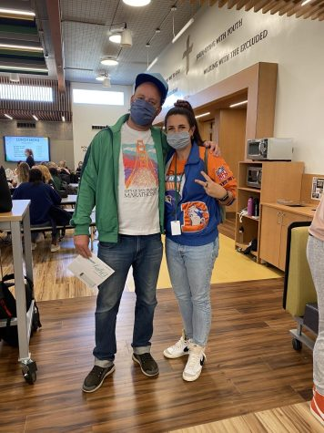 Dr. Exley and Ms. Blumhardt show off their school spirit in the Hollman Family Student Union with killer throwback outfits on Way Back Wednesday.