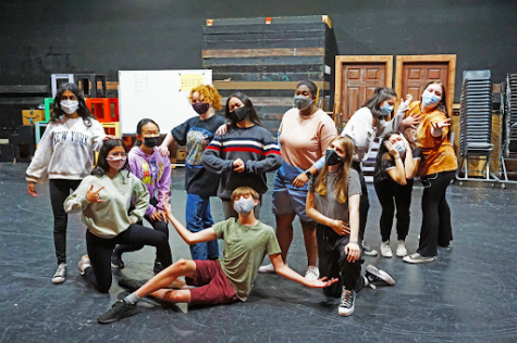 ALL TOGETHER NOW's Gold Ensemble posing during rehearsal, featuring Quincy Hotchkiss, Kava Ananth, Isabel Diab, Grace Sohn, Piper Lavey, Denyse Gallardo, Tabitha Johnson, Anna Lyke, Ava Maloco, Melanie Rosales, and Frankie Mondeaux.